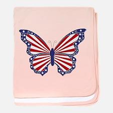 Patriotic Butterfly baby blanket