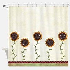Primitive Sunflowers Shower Curtain Shower Curtain