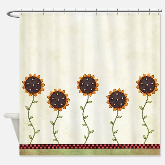 Primitive Sunflowers Shower Curtain Shower Curtain