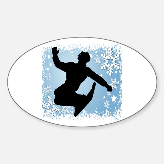 Snowboarding (Blue) Oval Decal
