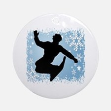Snowboarding (Blue) Ornament (Round)