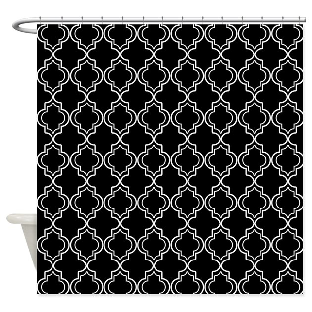 Black And White Moroccan Quatrefoil Shower Curtain By