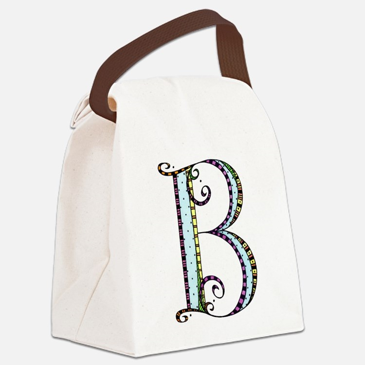 What Fun Monogram - B Canvas Lunch Bag