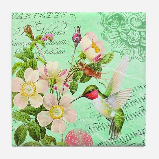Modern vintage french hummingbird Tile Coaster