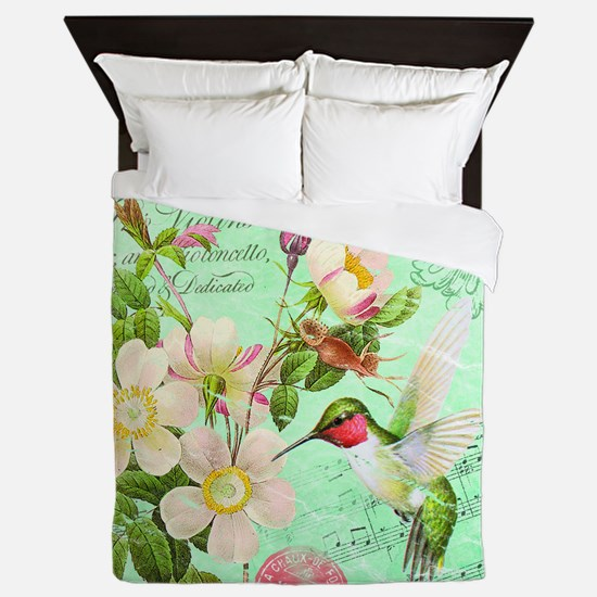 Modern vintage french hummingbird Queen Duvet