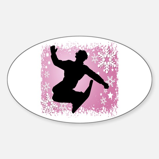 Snowboarding (Pink) Oval Decal