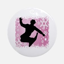 Snowboarding (Pink) Ornament (Round)