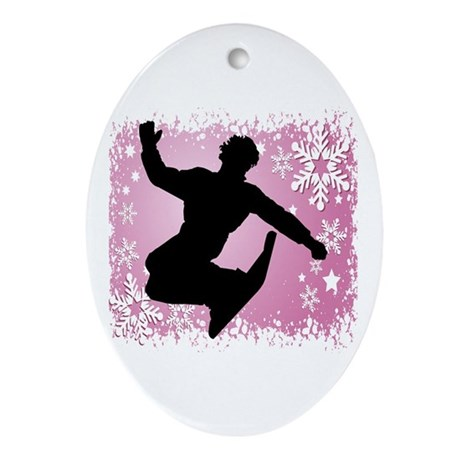 Snowboarding (Pink) Oval Ornament