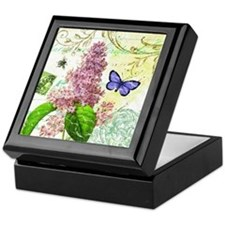 Modern vintage French botanical lilac Keepsake Box