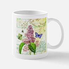 Modern vintage French botanical lilac Small Mugs