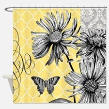 Modern vintage floral collage Shower Curtain