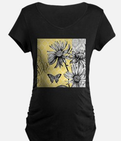 Modern vintage floral collage Maternity T-Shirt