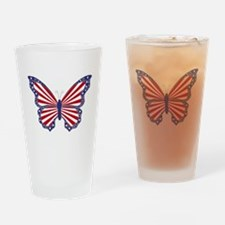 Patriotic Butterfly Drinking Glass