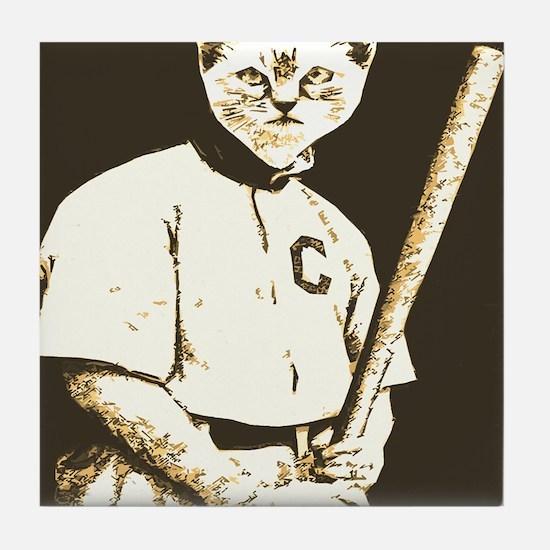 Baseball Cat Tile Coaster