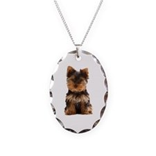 Yorkie Necklace Oval Charm
