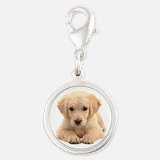 Golden Retriever Silver Round Charm
