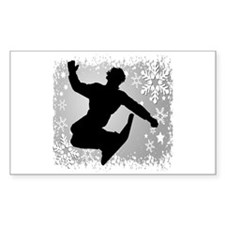 Snowboarding (Silver) Rectangle Decal