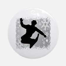 Snowboarding (Silver) Ornament (Round)
