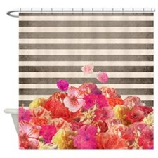 Shower Curtain Floral Bars