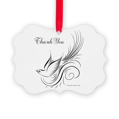 Calligraphy Bird Thank You Picture Ornament