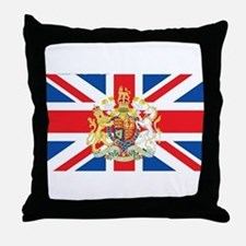 British Flag with Royal Crest Throw Pillow