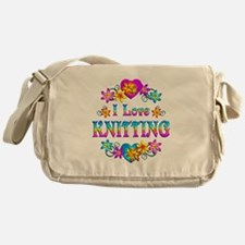 I Love Knitting Messenger Bag