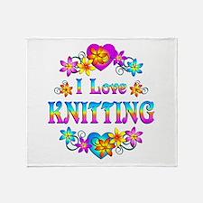 I Love Knitting Throw Blanket