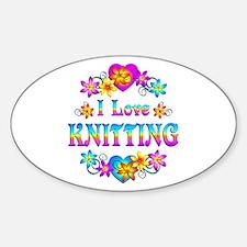 I Love Knitting Sticker (Oval)