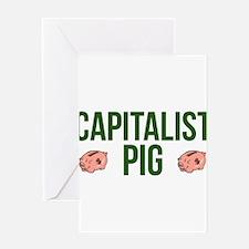 Capitalist Pig Greeting Card