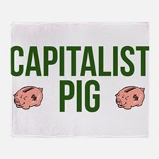 Capitalist Pig Throw Blanket