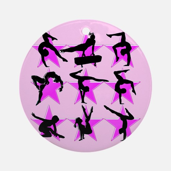 PRETTY PINK GYMNAST Ornament (Round)