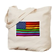 Gay Rights Rainbow Patriotic Flag Tote Bag