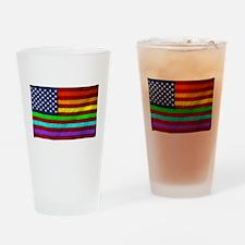 Gay Rights Rainbow Patriotic Flag Drinking Glass