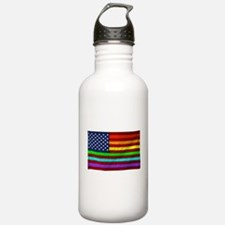 Gay Rights Rainbow Patriotic Flag Water Bottle