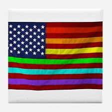 Gay Rights Rainbow Patriotic Flag Tile Coaster