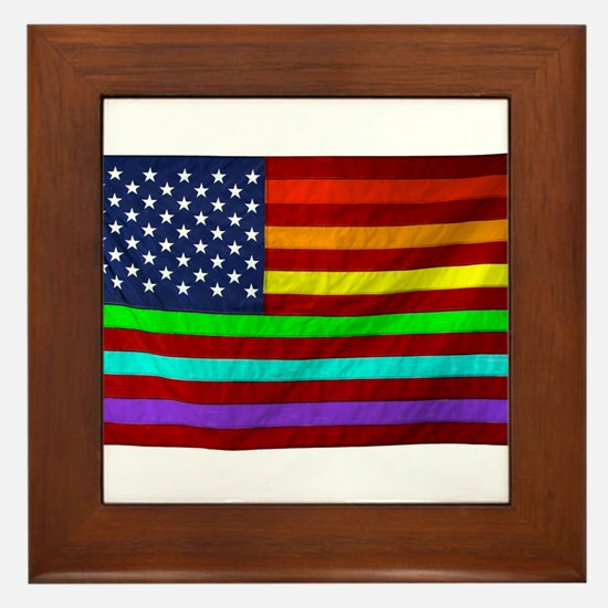 Gay Rights Rainbow Patriotic Flag Framed Tile