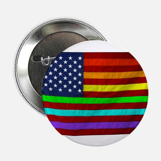 "Gay Rights Rainbow Patriotic Flag 2.25"" Button"