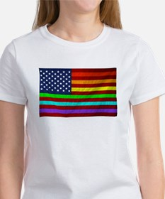 Gay Rights Rainbow Patriotic Flag T-Shirt