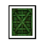 Rusty Shipping Container - green Framed Panel Prin