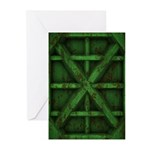 Rusty Shipping Container - green Greeting Cards (P