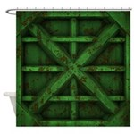 Rusty Shipping Container - green Shower Curtain