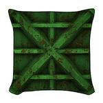 Rusty Shipping Container - green Woven Throw Pillo