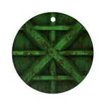 Rusty Shipping Container - green Ornament (Round)