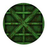 Rusty Shipping Container - green Round Car Magnet