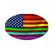 (LGBT) Gay Rainbow Pride Flag - Oval Car Magnet