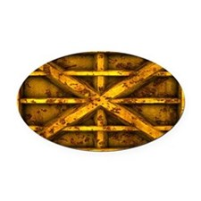 Rusty Shipping Container - yellow Oval Car Magnet