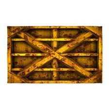Rusty Shipping Container - yellow 3'x5' Area Rug