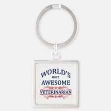 World's Most Awesome Veterinarian Square Keychain
