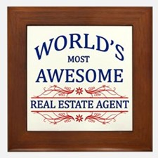 World's Most Awesome Real Estate Agent Framed Tile