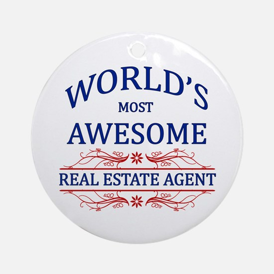 World's Most Awesome Real Estate Agent Ornament (R